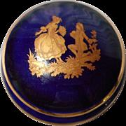 Vintage Limoges Cobalt Porcelain Lidded Dresser Jar
