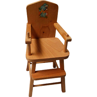 Vintage Mid Century All Wood Highchair and Bed by Strombecker