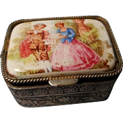 Silver Plated Trinket Box with Porcelain Painted Top