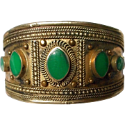 Vintage Hand Tooled Metal Cuff Bracelet with natural Green Stones