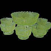 Vintage Vaseline [Uranium] Glass Berry Set