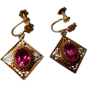 "Vintage Filigree And Red stone Earrings marked ""800"""
