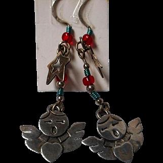 Vintage Sterling Angel Earrings