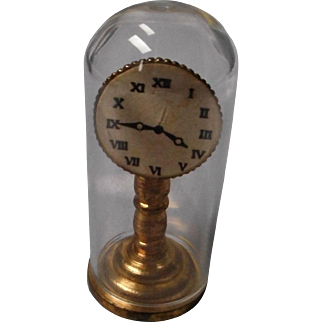 Vintage Miniature Doll House Clock with Glass Dome