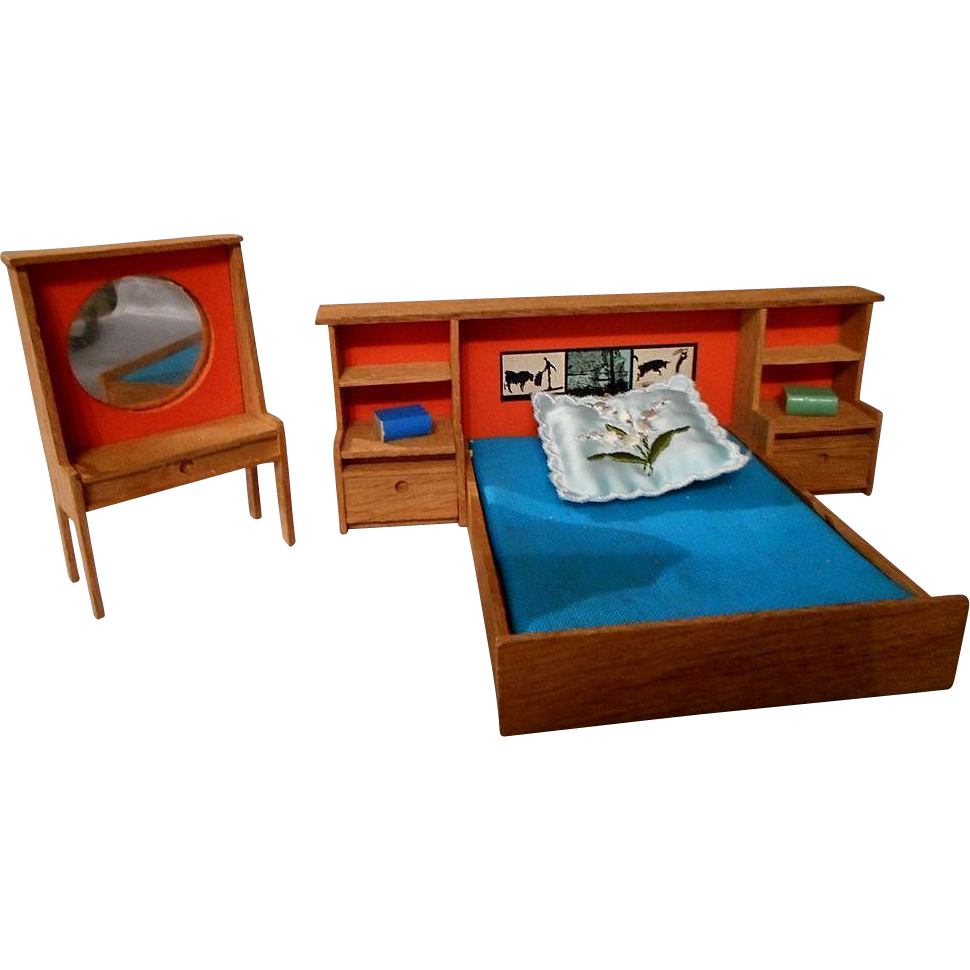dollhouse bedroom set wood 60 39 s 70 39 s from eleanorslegacy on ruby