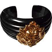 Vintage Black Bakelite Bracelet with Metal Lion