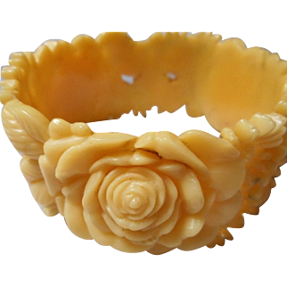vintage Carved Rose Celluloid Bangle Bracelet