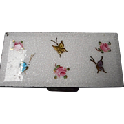 Vintage White Guilloche Enamel Box with Enameled Roses and Butterflies