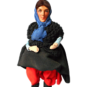Vintage All Original Cloth Doll with Painted Bisque Head, Ireland