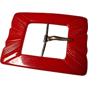 Red Bakelite Belt Buckle