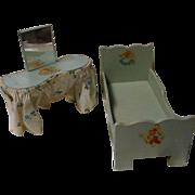 Vintage Wood Bedroom Vanity and Bed