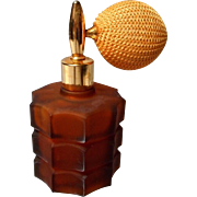 Vintage Amber Glass Perfume with Atomizer