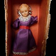 Vintage German Wax Creche Doll in Original Box