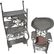 2 Piece Set of Metal Doll House Furniture