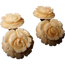 Vintage Carved Celluloid Clip Earrings