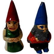Vintage Enameled Metal Gnomes