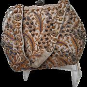 Vintage Hand Beaded Satin Handbag