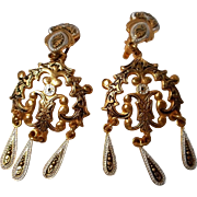 Vintage Enamel Clip Earrings