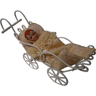 vintage Doll House Baby in Metal Carriage