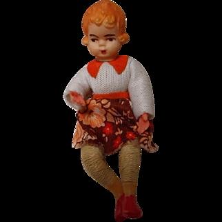 Vintage Plastic Doll House Thread Doll