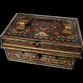 Vintage Metal Painted Box with Handle