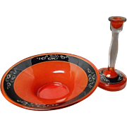Vintage Czech Orange and Black Bowl and Candlestick