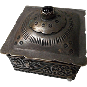 Vintage Tooled Silver Tone Metal and Hinged Box
