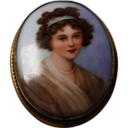 Vintage Hand Painted Limoges Portrait Brooch