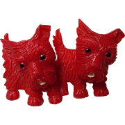 Vintage Red Celluloid Scottie Brooch with Swivel Heads