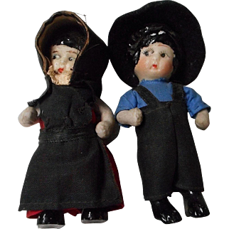Pair of Vintage All Bisque Amish Doll House Dolls