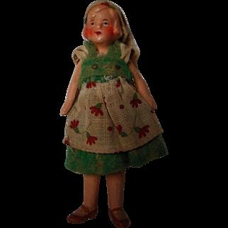 Vintage German All Bisque Doll in Original Costume