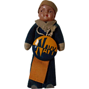 Velvet Sailor Doll with Celluloid Head and Vintage Navy Pin