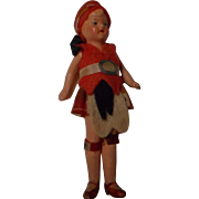 Vintage All Bisque Doll House Doll in Original Costume