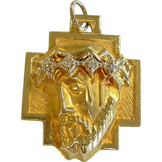 14K Diamond Pendant Jesus Christ with Crown of Thorns