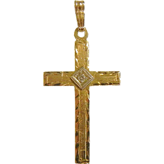 Fine 14K Gold Diamond Cross Pendant