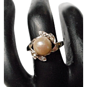 14 K Pearl and Diamond Ring
