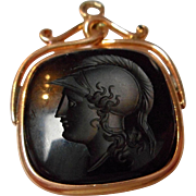 Vintage Fine Gold Carved Onyx Watch Fob