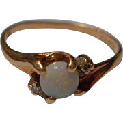 Vintage 10 K Opal and Diamond Ring