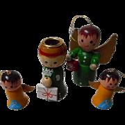 Vintage Set of Wooden Christmas Angels
