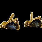 Vintage 14 K Tear Drop Sapphire and Diamond Post Earrings