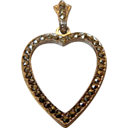 Vintage Sterling Silver and Marcasite Heart Pendant