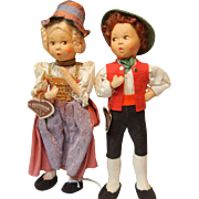 Vintage Baitz Cloth Dolls in Original Costumes