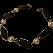 Vintage Black Coral and Pearl Bracelet