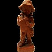 Vintage Hand Carved Boy Reading Figure