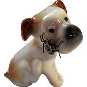 Vintage Porcelain Dog with Metal Fly on his Face