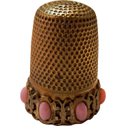 Vintage Brass Thimble with Pink Stones
