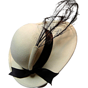 Vintage Wool Felt and Feather Hat