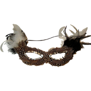 Vintage Feather Masquerade  Mask