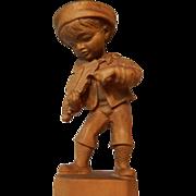 Vintage Carved Wood Boy Playing Violin