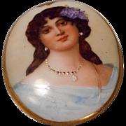 Gorgeous Antique Hand Painted Porcelain Portrait - Red Tag Sale Item